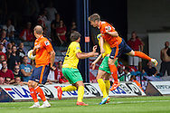 Alex Lacey of Luton Town (right) scores the opening goal during the Pre Season Friendly match at Kenilworth Road, Luton<br /> Picture by David Horn/Focus Images Ltd +44 7545 970036<br /> 26/07/2014