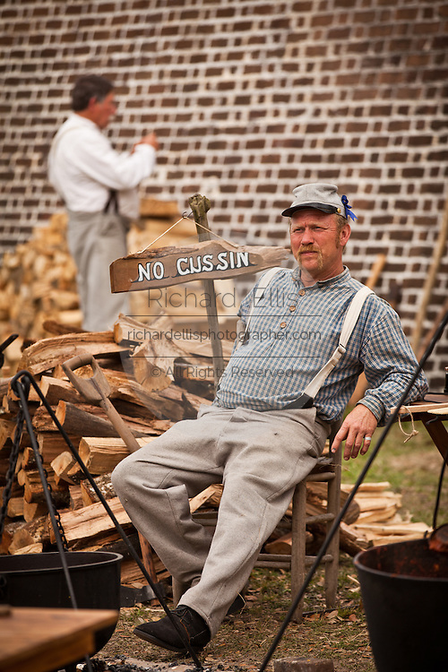 Confederate re-enactor rests in Fort Moultrie Charleston, SC. The re-enactors are part of the 150th commemoration of the US Civil War.