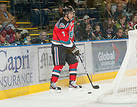 KELOWNA, CANADA - OCTOBER 10:  Damon Severson #7 of the Kelowna Rockets looks for the pass as the Spokane Chiefs visit the Kelowna Rockets on October 10, 2012 at Prospera Place in Kelowna, British Columbia, Canada (Photo by Marissa Baecker/Shoot the Breeze) *** Local Caption ***