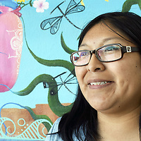 "Zuni artist Mallery Quetawki, 33, was commissioned to paint a mural for the Zuni Community Park. Her mural ""Water is Life"" features the cycle of water, from rain to evaporation, to the its connection with human life. Quetawki is the daughter of former Zuni Gov. Arlen Quetawki, who is currently a member of the Zuni Tribal Council."
