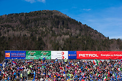Fans during the Men's Slalom - Pokal Vitranc 2012 of FIS Alpine Ski World Cup 2011/2012, on March 11, 2012 in Vitranc, Kranjska Gora, Slovenia.  (Photo By Vid Ponikvar / Sportida.com)