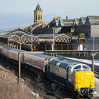 A piece of railway history at Perth Railway Station this morning (27.03.15) as 55 003 'Meld' a restored 'Delitc' from the 1960's passed through taking Caledonian sleeper carriages to Glasgow works where they are to be re-branded for the launch of the new franchise sleeper service run by Serco which starts on 31st March. The British Rail Class 55's were built in 1961-62 to operate the high speed express passenger service between Edinburgh and London King Cross. The Locomotive is owned by the Deltic Preservation Society and is one of only two preserved Deltics that can operate on the mainline.<br /> Picture by Graeme Hart.<br /> Copyright Perthshire Picture Agency<br /> Tel: 01738 623350  Mobile: 07990 594431