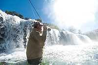 A fisherman casts into the pool below a waterfall in northwest Wyoming.