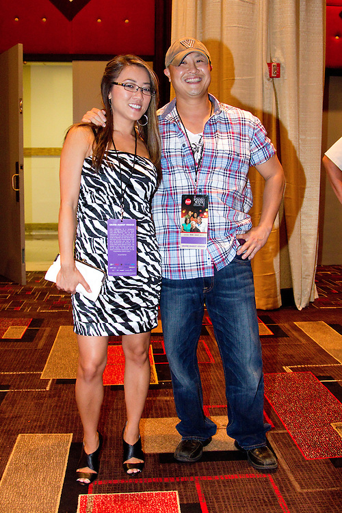 """Gina Melcher and Chino Chang, contestants on the Fox Network reality cooking show """"Hell's Kitchen"""" make an appearance at the Atlantic City Food & Wine Festival."""