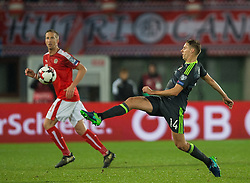 VIENNA, AUSTRIA - Thursday, October 6, 2016: Austria's Marc Janko (L) in action against Wales' David Edwards (R) during the 2018 FIFA World Cup Qualifying Group D match at the Ernst-Happel-Stadion. (Pic by Peter Powell/Propaganda)