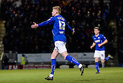 Sam Clucas celebrates his second goal of thew game in extra time during the The FA Cup match between Chesterfield and Scunthorpe United at the b2net stadium, Chesterfield, England on 13 January 2015. Photo by Simon Kimber.