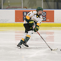 3rd year forward Jaycee Magwood (5) of the Regina Cougars in action during the Women's Hockey home game on February 10 at Co-operators arena. Credit: Arthur Ward/Arthur Images