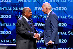 Democratic Presidential hopefuls former Vice-President Joe Biden, Sen. Bernie Sanders, Sen Amy Klobuchar, NYC Mayor Bill DiBlassio and businessmen Tom Steyer and Andrew Yang attend the Philadelphia Council AFL-CIO Workers' Presidential Summit, at the Pennsylvania Convention Center in Philadelphia, PA, on September 17, 2019.