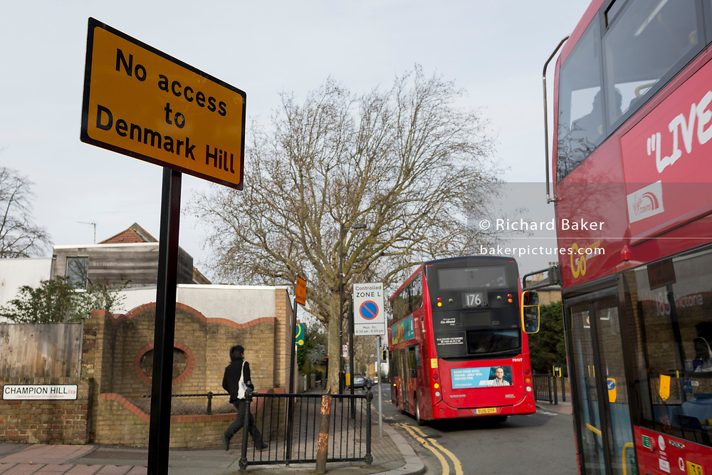Southwark Council's new road junction layout sign at the corner Champion Hill and Dog Kennel Hill in East Dulwich, on 13th February 2019, in London, England.