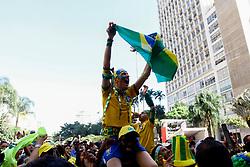 July 2, 2018 - SãO Paulo, Brazil - SÃO PAULO, SP - 02.07.2018: ARENA EM SP TRANSMITE JOGO DO BRASIL - Fans celebrate the Brazilian team's gat tht the Arena set up in the Anhangabaú Valley, in the central region of São Paulo, where the  is played fed for the 2018 World Cup, Brazil-Mexico, on Monday. 02) (Credit Image: © Aloisio Mauricio/Fotoarena via ZUMA Press)