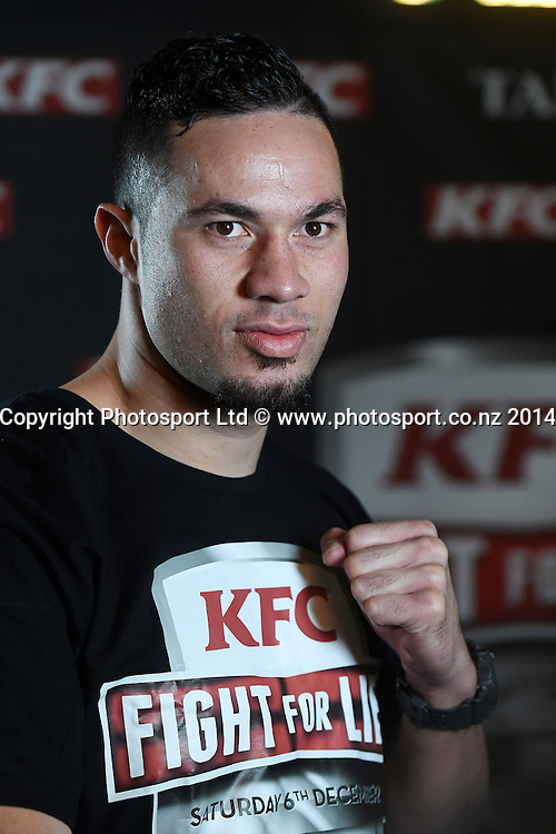 Heavyweight Boxer Joseph Parker poses for a picture during a press conference for the KFC Fight For Life by Duco Events. Auckland, New Zealand. Wednesday 3 December 2014. Photo: Andrew Cornaga/www.photosport.co.nz.