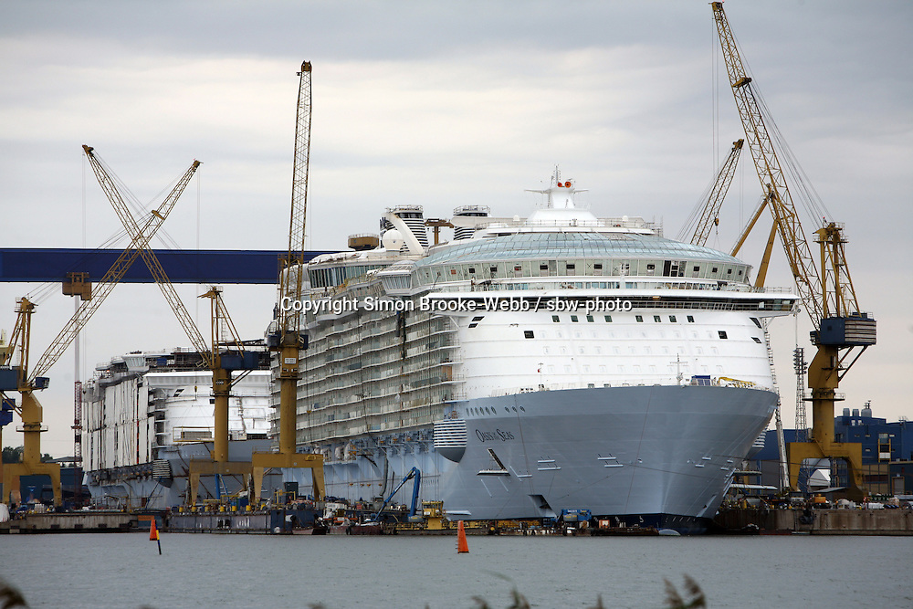 Oasis of the Seas at the shipyard in Turku, Finland where she is being built..Photos show Royal Caribbean's latest  ship 2 months before completion.