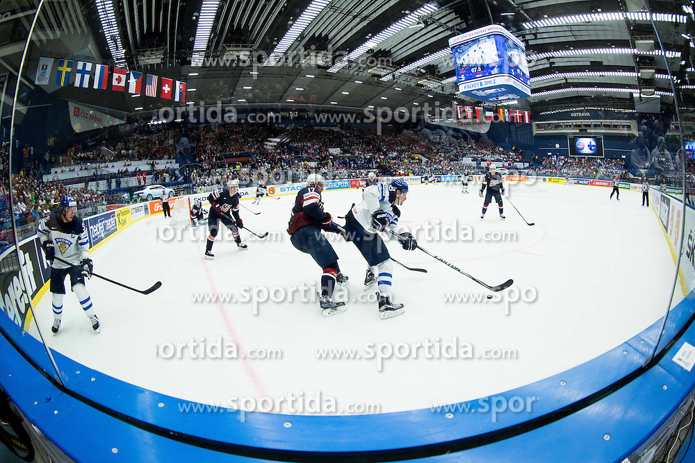 John Moore jr. of USA vs Sami Lepisto of Finland during Ice Hockey match between USA and Finland at Day 1 in Group B of 2015 IIHF World Championship, on May 1, 2015 in CEZ Arena, Ostrava, Czech Republic. Photo by Vid Ponikvar / Sportida