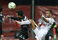 Sporting's player Bryan Ruiz (L ) fights for the ball with Nacional´s player Washington   (R ) during Portuguese First League football match Nacional vs Sporting held at Madeira Stadium, Funchal, Portugal, 13 February, 2016.  LUSA / GREGÓRIO CUNHA