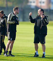 LIVERPOOL, ENGLAND - Monday, November 3, 2008: Liverpool's manager Rafael Benitez and Jamie Carragher during training at Melwood ahead of the UEFA Champions League Group D match against Club Atletico de Madrid. (Photo by David Rawcliffe/Propaganda)