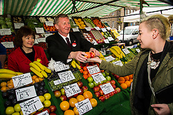 Pictured: Sarah Boyack and Alex Rowley trying to avoid the bannana skins when in selling mode to Toni Lords<br /> <br /> Scottish Labour deputy leader Alex Rowley was joined by the party's environment spokeswoman Sarah Boyack and party activists at a farmers' market in the Grassmarket, Edinburgh today. <br /> <br /> Ger Harley | EEm 1 April 2016