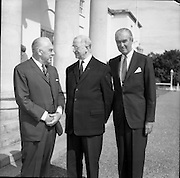 02/08/1962<br /> 08/02/1962<br /> 02 August 1962<br /> Ambassador Oil Co. representatives at Aras an Uachtarain.<br /> Picture shows Mr F. Kirk Johnston, (left) Chairman of Ambassador Oil Corporation and President of Ambassador Irish Oil Co. and Mr James (Jimmy) Stewart, Film star and shareholder chat with President Eamon de Valera.