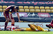Doncasters John Marquis on the ground after colliding with Richard O'Connell during the EFL Sky Bet League 1 match between Bradford City and Doncaster Rovers at the Northern Commercials Stadium, Bradford, England on 6 April 2019.