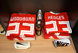 CARDIFF, WALES - Tuesday, November 14, 2017: The Wales shirts of Ben Woodburn and Ryan Hedges in the dressing room ahead of the international friendly match between Wales and Panama at the Cardiff City Stadium. (Pic by David Rawcliffe/Propaganda)