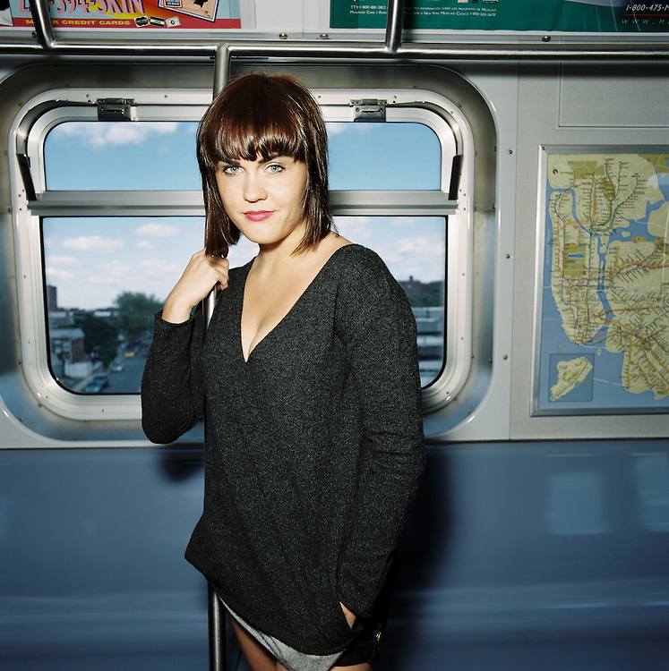 BROOKLYN - MAY 11 2011: Norwegian, singer songwriter Elise Vatsvaag on the F train in Brooklyn, New York.