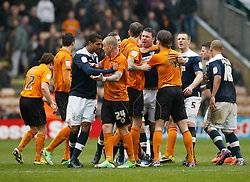 A melee breaks out as Jamie O Hara is sent off- Photo mandatory by-line: Matt Bunn/JMP  - Tel: Mobile:07966 386802 13/04/2013 - Wolverhampton Wanderers v Huddersfield Town - SPORT - FOOTBALL - Championship -  Wolverhampton - Molinuex-
