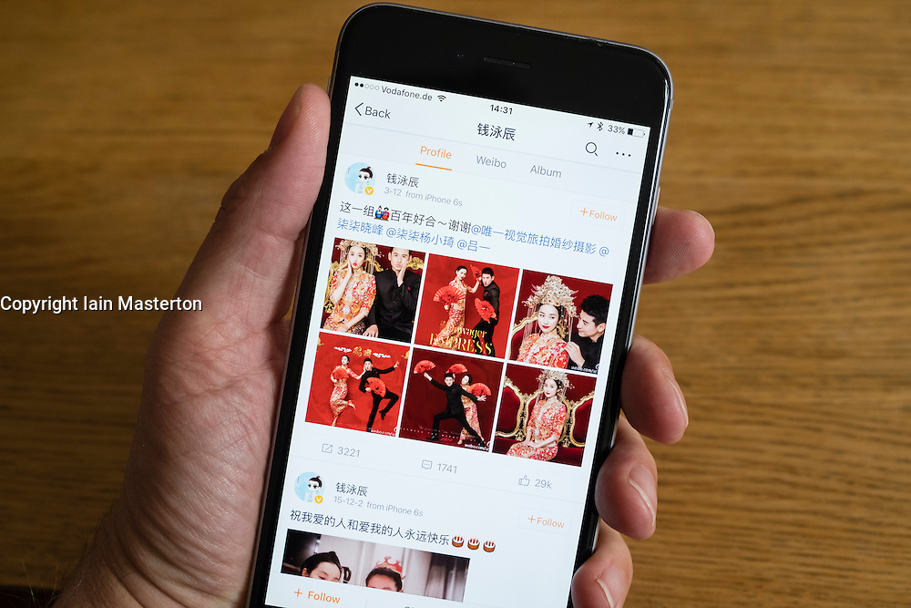 Home screen of Chinese social media website Weibo on a smart phone
