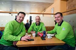 Gaber Glavic, Ales Burja and Edo Terglav at departure of Slovenian Olympic team to PyeongChang, on February 6, 2018 in Aerodrom Ljubljana, Cerklje na Gorenjskem, Slovenia. Photo by Matic Klansek Velej / Sportida