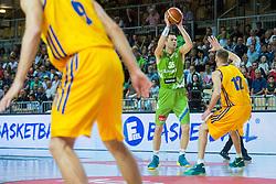 Uros Slokar of Slovenia vs Maxym Korniyenko of Ukraine during friendly basketball match between National teams of Slovenia and Ukraineat day 1 of Adecco Cup 2015, on August 21 in Koper, Slovenia. Photo by Grega Valancic / Sportida