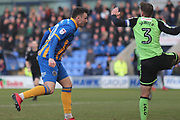 Nathan Thomas of Shrewsbury Town (10) misses a golden chance during the EFL Sky Bet League 1 match between Shrewsbury Town and Plymouth Argyle at Greenhous Meadow, Shrewsbury, England on 10 February 2018. Picture by Mick Haynes.