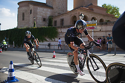 Emilia Fählin (SWE) of Wiggle High5 Cycling Team leans into the final corner on Stage 1 of the Madrid Challenge - a 12.6 km team time trial, starting and finishing in Boadille del Monte on September 15, 2018, in Madrid, Spain. (Photo by Balint Hamvas/Velofocus.com)