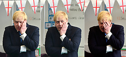 "© Licensed to London News Pictures. 23/04/2013. London, UK. *** COMPOSITE PHOTOGRAPH *** Mayor of London Boris Johnson answers questions on St George from the year 6 children. Mayor of London, Boris Johnson takes part in a Year 6 Class about St George's Day at Tidehall Academy in Deptford, South East London today 23rd April 2013. The class was taught by ""Outstanding Teacher"" Ed Wickstead. During the lesson Mr jOhnson wore a ""sound field"" device around his neck so his voice could be heard by the class. Photo credit : Stephen Simpson/LNP"