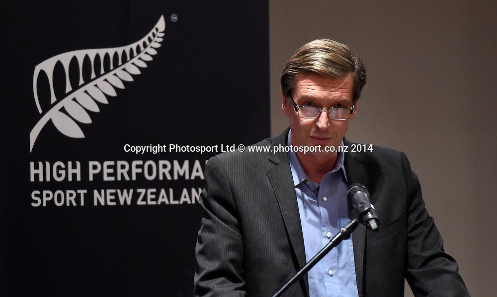 High Performance Sport New Zealand Chief Executive Alex Baumann at the HPNZ Coach Recognition Dinner, Waipuna Lodge, Auckland, New Zealand. Thursday 2 October 2014. Photo: Andrew Cornaga / www.photosport.co.nz