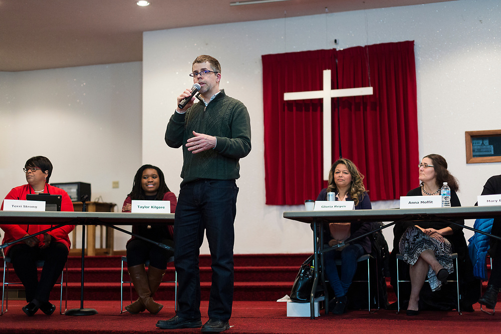 Capital Times Managing editor Chris Murphy introduces the candidates during the South Side Madison Madison School Board public forum hosted by Mount Zion Baptist Church in Madison, Wisconsin, Tuesday, March 6, 2018.