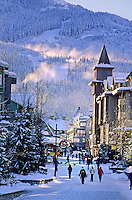 Whistler Village on an early winter morning, Whistler mountain rises above the Town Plaza of Whistler Village.