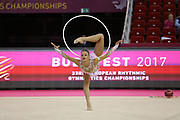 Alexandra Soldatova, Russia, during day one of the 33rd European Rythmic Gymnastics at Papp Laszlo Budapest Sports Arena, Budapest, Hungary on 19 May 2017. Photo by Myriam Cawston.