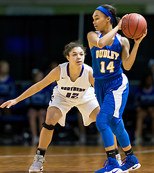 Northern's Mercedes Wampler guards Dudley's Sequoyah Johnson2016 HAECO Invitational