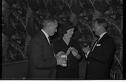 """Innoxa Reception At The Gresham Hotel..1963..02.10.1963..10.02.1963..2nd October 1963..At the Gresham Hotel, O'Connell Street, Dublin, Innoxa launched a new beauty range. The range,""""Living Peach"""", was introduced to members of the trade by Mr Bernard Mc Flynn,General Manager of Innoxa (England) Ltd. ..Picture shows Mr Desmond Flanagan,Sales Manager, Innoxa Irl Ltd, Ms Elizabeth Halpin, Cosmetics Buyer, Todd and Co, Limerick and Mr B Mc Flynn,General Manager, Innoxa (England) Ltd at the launch."""