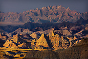 Wildfires in neighboring Nebraska create a smog which renders unusual morning colors in Badlands National Park, South Dakota, USA