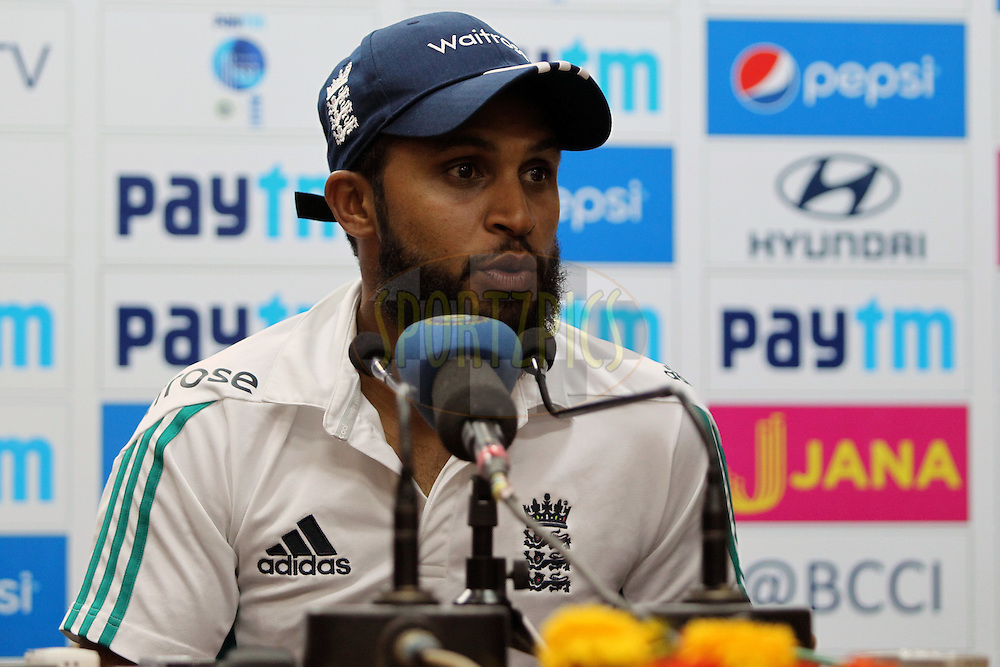 Adil Rashid of England addressing the media during day 2 of the third test match between India and England held at the Punjab Cricket Association IS Bindra Stadium, Mohali on the 27th November 2016.Photo by: Prashant Bhoot/ BCCI/ SPORTZPICS