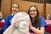18/01/2018  Andrea Dominique Boghi Oranmore with Med Student RachelO'Neill  at the Teddy Bear Hospital at NUI Galway . Students get used to dealing with Kids and Kids get a Hospital experience with a difference. Photo:Andrew Downes, XPOSURE