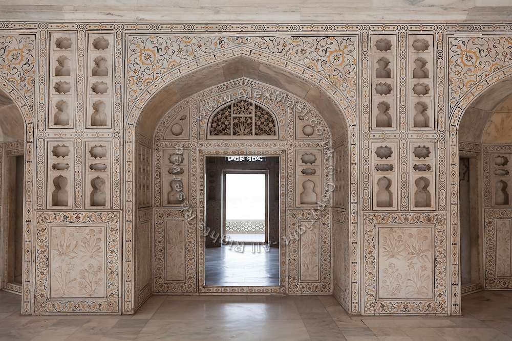 In this section of the Agra Fort deposed Mughal emperor Shah Jahan lived while under house arrest on orders of his son Aurangzeb.