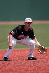 26 April 2014:  Paul DeJong during an NCAA Division 1 Missouri Valley Conference (MVC) Baseball game between the Southern Illinois Salukis and the Illinois State Redbirds in Duffy Bass Field, Normal IL