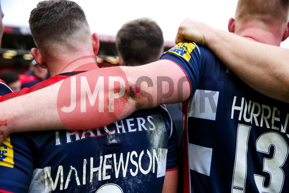 Bristol Rugby huddle after Bristol Rugby win 12-11 - Rogan Thomson/JMP - 26/02/2017 - RUGBY UNION - Ashton Gate Stadium - Bristol, England - Bristol Rugby v Bath - Aviva Premiership.