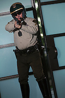 Nightwatch patrolman with handgun