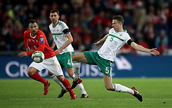 Northern Ireland's Jonny Evans (right) in action with Switzerland's Haris Seferovic during the FIFA World Cup Qualifying second leg match at St Jakob Park, Basel. PRESS ASSOCIATION Photo. Picture date: Sunday November 12, 2017. See PA story SOCCER Switzerland. Photo credit should read: Nick Potts/PA Wire