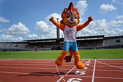 """06-07-2015 NED: Presentatie EK Atletiek """"One year to go"""", Amsterdam<br /> Kick off  EK Atletiek 2016 in het Olympische stadion Amsterdam. Over 1 jaar zal het EK Atletiek plaats vinden / Mascotte Adam"""