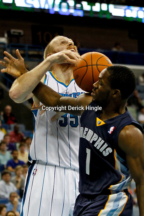 December 21, 2011; New Orleans, LA, USA; Memphis Grizzlies point guard Jeremy Pargo (1) fouls New Orleans Hornets center Chris Kaman (35) during the second half of a preseason game at the New Orleans Arena. The Hornets defeated the Grizzlies 95-80.  Mandatory Credit: Derick E. Hingle-US PRESSWIRE