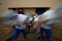 The Rocklin Thunder leave the locker room before the game as the Oak Ridge High School Trojans football team host the Rocklin Thunder, Friday Oct 6, 2017.<br /> photo by Brian Baer