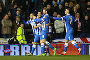 Brighton & Hove Albion players celebrate the own goal by Leeds United defender, Liam Cooper (6) during the Sky Bet Championship match between Brighton and Hove Albion and Leeds United at the American Express Community Stadium, Brighton and Hove, England on 29 February 2016. Photo by Phil Duncan.