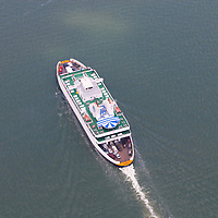 Aerial photograph of the Cape may lewes ferry.